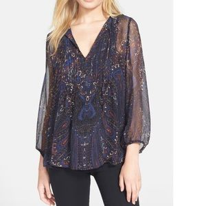 Joie 100% silk paisley sheer top small